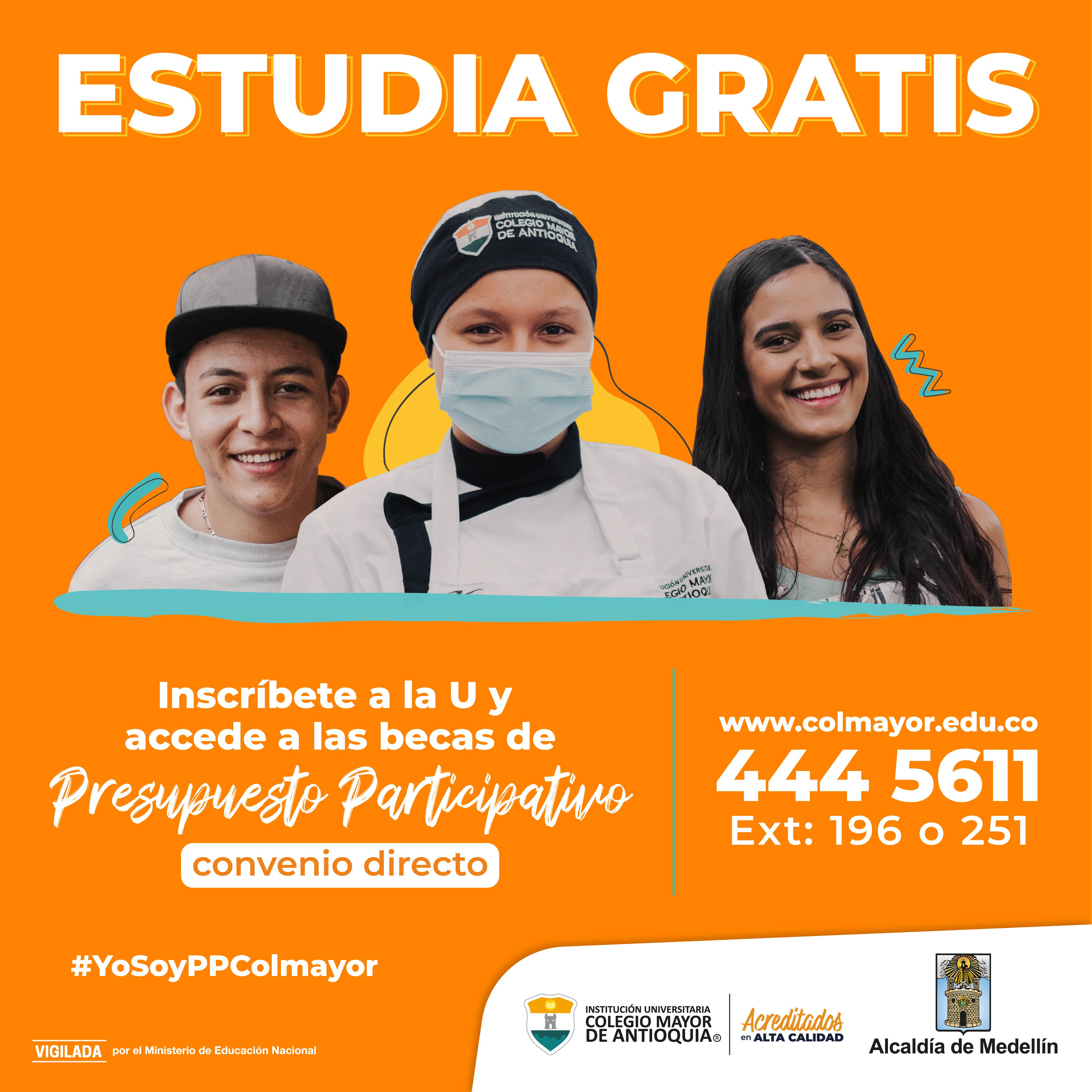Bachilleres de Medellín podrán estudiar gratis en la I.U. Colegio Mayor de Antioquia con las becas de Presupuesto Participativo convenio directo